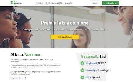 recensione alta opinione e pagina di login e registrazione